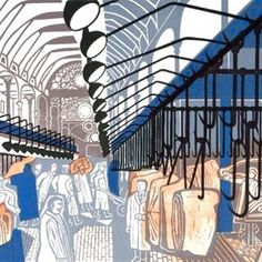 Edward Bawden. Smithfields Market,1967. Bawden hitched an early morning ride with his butcher to draw, transferring these to linocuts which, in turn, were transferred to litho for the final prints. #edwardbawden #linocuts #smithfieldsmarket #lithograph