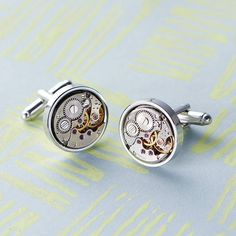 vintage round watch movement cufflinks by evy designs | notonthehighstreet.com