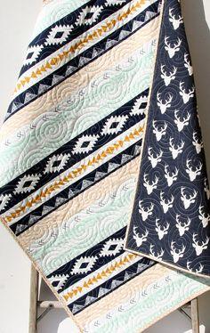 Deer Baby Quilt, Aztec Modern Girl Bedding, Crib Cot Nursery Southwest Arizona Woodland Buck Toddler Navy Blue Gold Mint Boy or Girl Blanket by SunnysideDesigns2