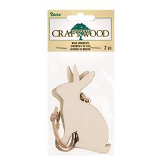 Darice® Wooden Bunny Ornaments for Crafts: 3.5 inches, 2 pack