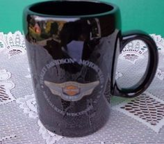 Harley Davidson 95th Coffee Cup Mug Motorcycles Milwaukee WI Large Black Ceramic #HarleyDavidson#Motorcycles