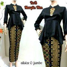 Setelan Kebaya Batik Marlyn Kebaya Peplum, Batik Kebaya, Batik Dress, Batik Muslim, Kebaya Muslim, Model Kebaya Modern Muslim, Batik Fashion, Designs For Dresses, Islamic Fashion