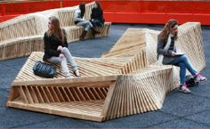 wooden structures | Reef benches offers an organic and lively landscape | Designbuzz ...