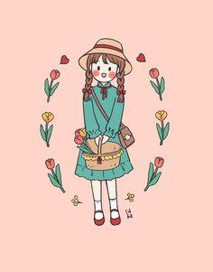 Kawaii Wallpaper, Cute Wallpaper Backgrounds, Cute Cartoon Wallpapers, Cute Art Styles, Cartoon Art Styles, Cute Little Drawings, Cute Drawings, Cartoon Girl Drawing, Cartoon Drawings