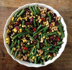 Black Rice Salad with green beans and corn
