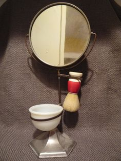 Vintage Shaving Set   Stand Mirror Milk Glass by TroveMagpie