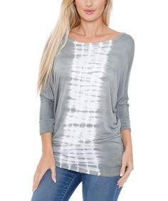 Another great find on #zulily! Gray & White Ikat Dolman Tunic #zulilyfinds