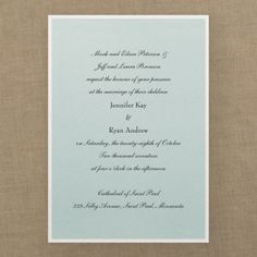 Classic Creation - Invitation - Aqua Shimmer layered...pick your bottom layer color...add your own embellishment ribbon or band. Layout can be modified to accommodate a ribbon or band. Quaint Wedding Stationery & Accessories