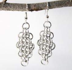 Handcrafted Chainmail Maille Diamond Shape Stainless Steel Earrings | JulieKindtStudio -  on ArtFire