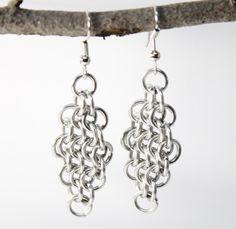 Handcrafted Chainmail Maille Diamond Shape Stainless Steel Earrings | JulieKindtStudio -  on ArtFire