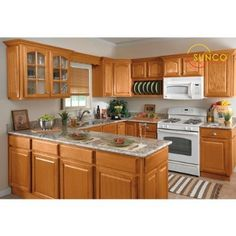 Small U Shaped Kitchen Remodel Ideas - Küchenmöbel U Shaped Kitchen Cabinets, Oak Kitchen Cabinets, Kitchen Island, Maple Cabinets, Kitchen Backsplash, Brown Cabinets, Cherry Cabinets, Granite Kitchen, Wooden Cabinets