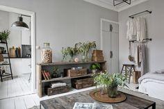 Grey rustic studio apartment