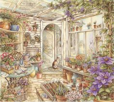 Spring Garden Room - Jigsaw by Pastime Puzzles (discon) Illustrations, Illustration Art, Cottage Art, Spring Garden, Art Drawings, Fine Art Prints, Sketches, Watercolor, Artwork