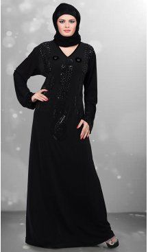 Black Color Lycra Islamic Burqa Hijab and Abaya Collection Online | FH435869074