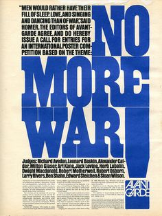 """Quite an impressive list of judges for this anti-war poster competition from a 1968 Avant Garde magazine. Could you imagine winning? A couple issues later the winning posters were shown, but nothing was as impressive as Herb Lubalin's announcement."""