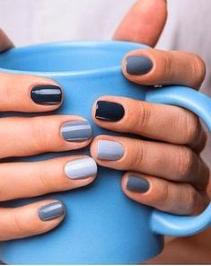 In look for some nail designs and ideas for your nails? Listed here is our listing of must-try coffin acrylic nails for modern women. Gray Nails, Gradient Nails, Cute Acrylic Nails, Cute Nails, Pretty Nails, Black White Nails, Grey Nail Art, Neutral Nails, Diy Nagellack
