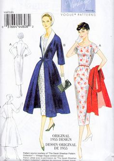 1950s Inspired Misses Plus Size Dress and Princess Seam Coat Sewing Pattern, 1955 Reissue Vogue 8875 Sizes 16, 18, 20, 22, 24,  uncut