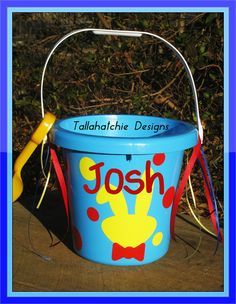 Personalized Easter Bucket Custom Easter by TallahatchieDesigns