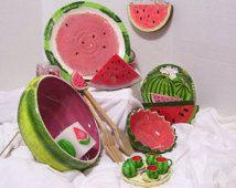 Watermelon  Salt and Pepper / Miniature Tea Set /  Napkin Holder Rings / Candles / Wall Plaque / Paper Plate Holder