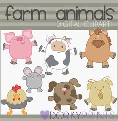 Farm Animals Digital Clip Art Set -Personal and Commercial Use- Instant Download