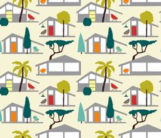 MCM houses fabric by oleynikka on Spoonflower - custom fabric