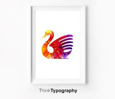 Swan Illustration Colorful Motivational Wall Decor Typography Poster Wall Inspirational Print Home Decor Winter Gift New Year Resolution by ThinkTypography on Etsy