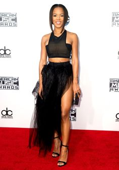 Nice balance of structured and soft silhoutte...edgy fem...Music's finest attended the American Music Awards 2015 on Sunday, Nov. 22, in L.A. — and naturally, they glammed up! See the stars' styles here.