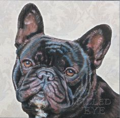 Contemporary Framed with Mat Giclee Print of Painted Brindle French Bulldog Painting Art Artwork