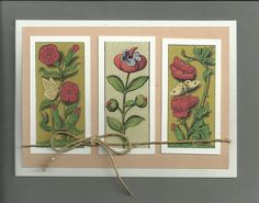 card with 3 medieval flower pics
