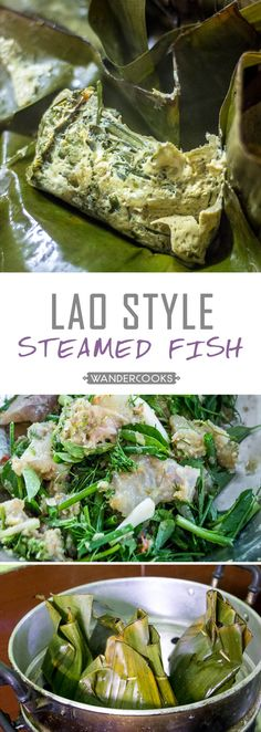 Fish (Mok Pa) Lao Steamed Fish (Mok Pa) - Bursting fresh from the banana leaf, this flavour infused fish is melt-in-your-mouth goodness. Easy Asian Recipes, Fish Recipes, Seafood Recipes, Cooking Recipes, Ethnic Recipes, Laos Recipes, Potluck Recipes, Savoury Recipes, Burmese Food