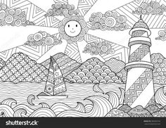 Seascape Line Art Design For Coloring Book For Adult, Anti Stress Coloring - Stock Vector - 389283742 : Shutterstock
