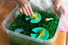 Frog pond sensory bin from The Salamander Room