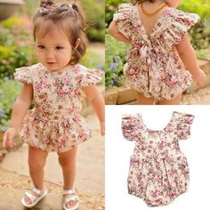 bf4561e4e8c7 Adorable little girls flower romper!! Size 3 months to 2T available! Cute  Little. Baby Buttons Boutique