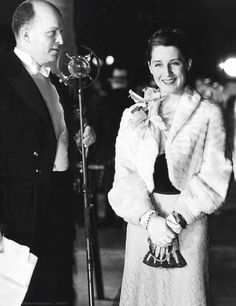 Announcer Freeman Long introduces Norma Shearer at the premiere of Mata Hari at Grauman's Chinese Theater, 1932.