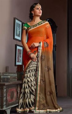 Picture of Mesmerizing Orange and Beige Color Lovely Saree