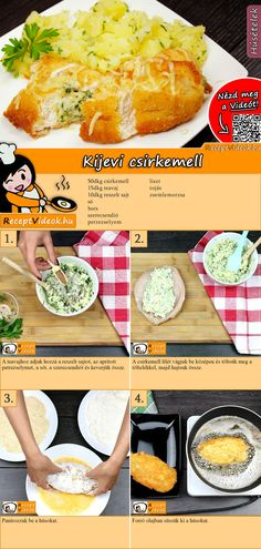 Kiewer Kotelett Rezept mit Video – Hähnchenbrustfilet Rezeptideen Breaded, tender chicken breast fillet with delicious cheese filling – this is Kiev cutlet! You can easily find the Kiev chop video using the QR code 🙂 breast # Chicken recipe Healthy Chicken Recipes, Meat Recipes, Healthy Snacks, Chicken Kiev Recipe, Cutlets Recipes, Hungarian Recipes, Diy Food, No Cook Meals, Food Videos