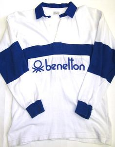 More Benetton Rugby Topss in different styles and colours are available online here at Casual Classics. Rugby Shirts, Blue Shirts, Benneton, Kickin It Old School, Before I Forget, Sergio Tacchini, Nostalgia, Football Casuals, My Childhood Memories