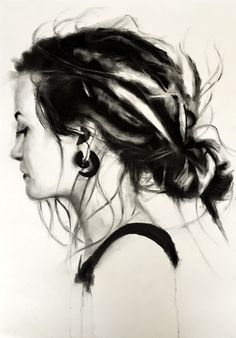 dready girl. Charcoal drawing on paper made by Denny Stoekenbroek
