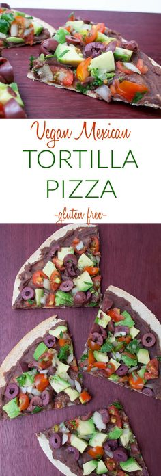 Vegan Mexican Tortilla Pizza (gluten free) - Gluten free Mexican thin crust pizza is easy with a brown rice tortilla! Perfect as an appetizer for game day or pizza for one. Topped with refried beans, avocado, black olives, and fresh pico de gallo.