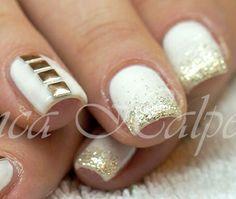 Nägel in weiß gold - white gold nails