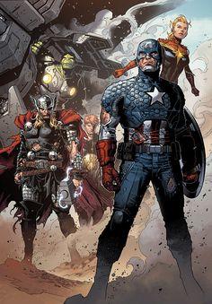 Hulk, Thor, Captain America, Hyperion and Captain Marvel