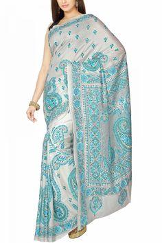 Antique white Blue & Green Kantha Soft Silk Saree