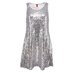 Silver Sequined Racer Back Vest Dress ($24) ❤ liked on Polyvore featuring dresses, silver, sequin dress, racer back dress, sequin embellished dress, racerback dress and silver dress