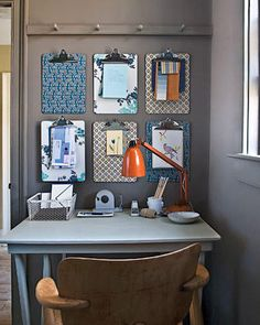 Store the cardboards on the wall, attach paper on them to the plates with clips.   30 Ideas Will Make Your Workplace Best and Clean...  http://diy.jexshop.com/