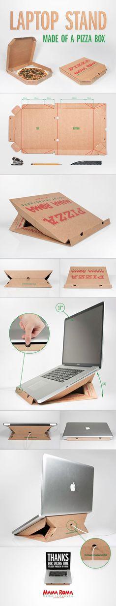 Una idea original atril para la laptop hecho con una caja de pizza.  #LunesCreativo