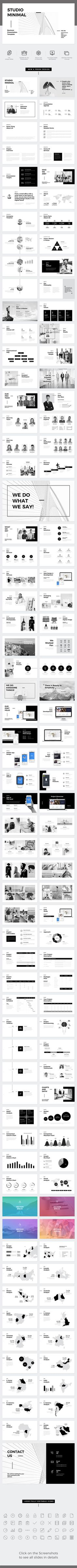 Studio Minimal Presentation Google Slides Template  company profile - presentation - powerpoint - keynote - projection - creative presentation - projection - simple - black & white - minimal presentation
