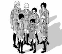 Levi squad | AoT | cred.bubiomaru Levi Squad, Manga Anime, Anime Art, Aot Funny, Aot Memes, Rivamika, Fairy Tail Couples, Attack On Titan Anime, Anime Toys