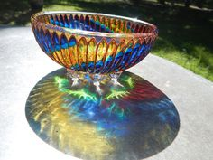 RichanaDragon ||| Circus. Glass salad bowls (candle holders) with colorful spiral pattern. Hand painted stained glass.