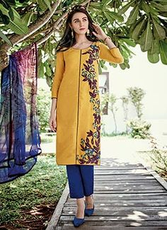 Mustard Cotton Jacquard Straight Pant Suit