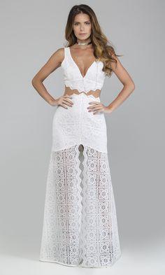 Vestido Longo Renda Tule Cintura - Agatha e-Store - Ágatha e-Store
